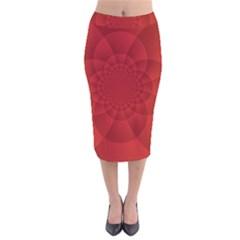 Psychedelic Art Red  Hi Tech Velvet Midi Pencil Skirt by Amaryn4rt