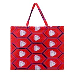 Red Bee Hive Zipper Large Tote Bag by Amaryn4rt