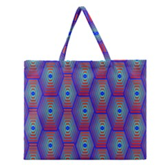 Red Blue Bee Hive Zipper Large Tote Bag