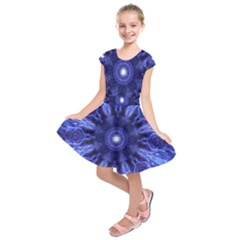 Tech Neon And Glow Backgrounds Psychedelic Art Kids  Short Sleeve Dress by Amaryn4rt
