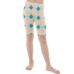 Tile Pattern Wallpaper Background Kids  Mid Length Swim Shorts by Amaryn4rt