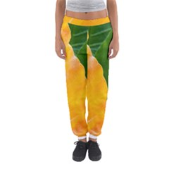Wet Yellow And Green Leaves Abstract Pattern Women s Jogger Sweatpants by Amaryn4rt