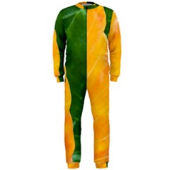 Wet Yellow And Green Leaves Abstract Pattern Onepiece Jumpsuit (men)