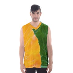 Wet Yellow And Green Leaves Abstract Pattern Men s Basketball Tank Top by Amaryn4rt