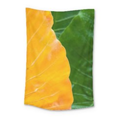 Wet Yellow And Green Leaves Abstract Pattern Small Tapestry