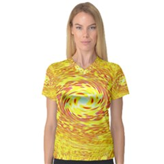 Yellow Seamless Psychedelic Pattern Women s V Neck Sport Mesh Tee by Amaryn4rt
