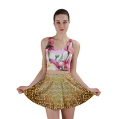 Yellow And Black Stained Glass Effect Mini Skirt