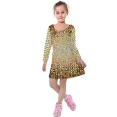 Yellow And Black Stained Glass Effect Kids  Long Sleeve Velvet Dress by Amaryn4rt