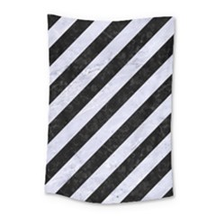 Stripes3 Black Marble & White Marble Small Tapestry