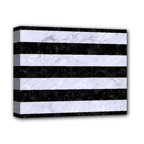 Stripes2 Black Marble & White Marble Deluxe Canvas 14  X 11  (stretched) by trendistuff
