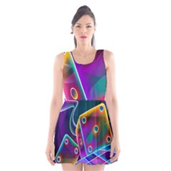 3d Cube Dice Neon Scoop Neck Skater Dress by Onesevenart
