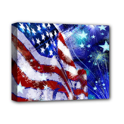American Flag Red White Blue Fireworks Stars Independence Day Deluxe Canvas 14  X 11  by Onesevenart