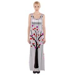 Valentine s Day Tree Maxi Thigh Split Dress by Valentinaart
