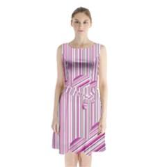 Pink Love Pattern Sleeveless Chiffon Waist Tie Dress