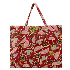 Pizza Pattern Zipper Large Tote Bag by Valentinaart