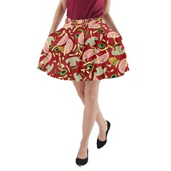 Pizza Pattern A Line Pocket Skirt by Valentinaart