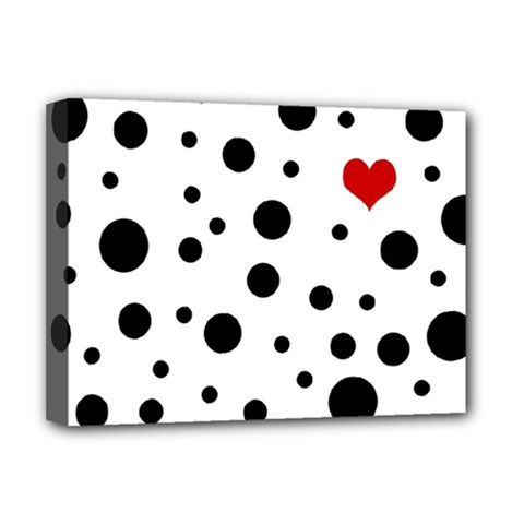 Dots And Hart Deluxe Canvas 16  X 12   by Valentinaart