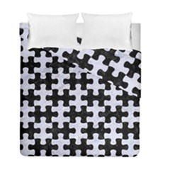 PUZ1 BK-WH MARBLE Duvet Cover Double Side (Full/ Double Size) by trendistuff