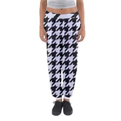 Houndstooth1 Black Marble & White Marble Women s Jogger Sweatpants by trendistuff
