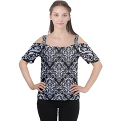 Damask1 Black Marble & White Marble Cutout Shoulder Tee