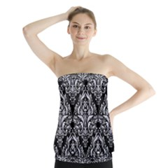 Damask1 Black Marble & White Marble Strapless Top