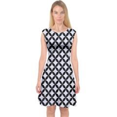 CIR3 BK-WH MARBLE (R) Capsleeve Midi Dress