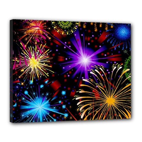Celebration Fireworks In Red Blue Yellow And Green Color Canvas 20  X 16  by Onesevenart