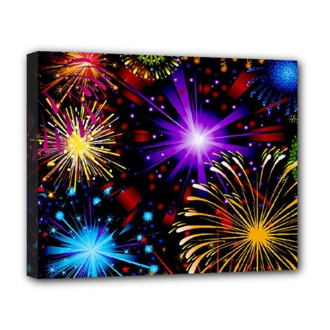 Celebration Fireworks In Red Blue Yellow And Green Color Deluxe Canvas 20  X 16   by Onesevenart