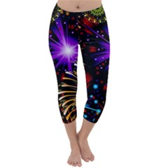 Celebration Fireworks In Red Blue Yellow And Green Color Capri Winter Leggings  by Onesevenart