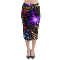 Celebration Fireworks In Red Blue Yellow And Green Color Midi Pencil Skirt by Onesevenart