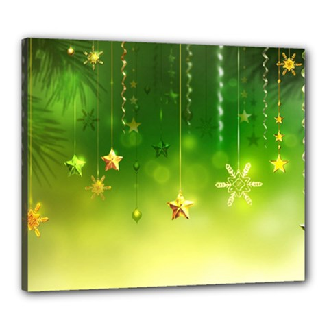 Christmas Green Background Stars Snowflakes Decorative Ornaments Pictures Canvas 24  X 20  by Onesevenart