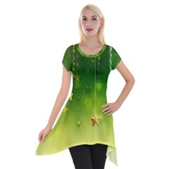 Christmas Green Background Stars Snowflakes Decorative Ornaments Pictures Short Sleeve Side Drop Tunic by Onesevenart