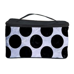 Circles2 Black Marble & White Marble (r) Cosmetic Storage Case by trendistuff