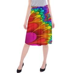 Colorful Trippy Midi Beach Skirt by Onesevenart