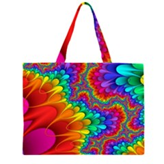 Colorful Trippy Large Tote Bag by Onesevenart