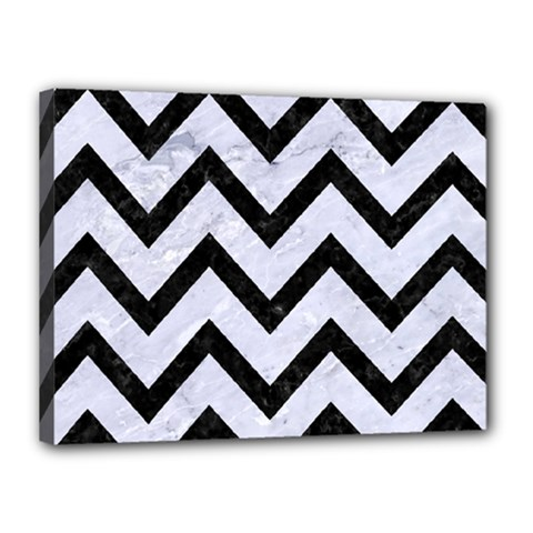 Chevron9 Black Marble & White Marble (r) Canvas 16  X 12  (stretched) by trendistuff