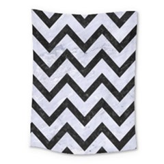 Chevron9 Black Marble & White Marble (r) Medium Tapestry by trendistuff