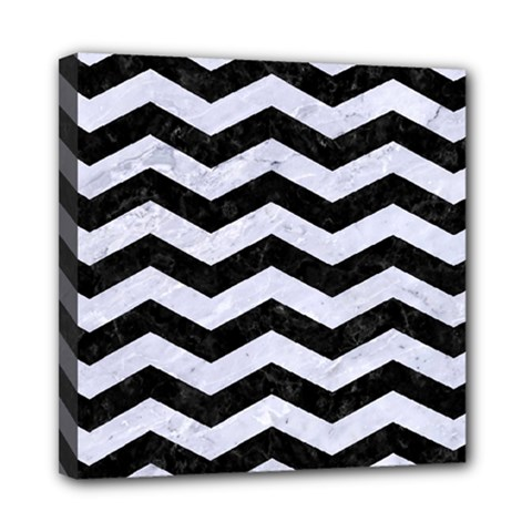 Chevron3 Black Marble & White Marble Mini Canvas 8  X 8  (stretched) by trendistuff