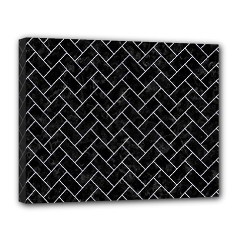 Brick2 Black Marble & White Marble Canvas 14  X 11  (stretched) by trendistuff