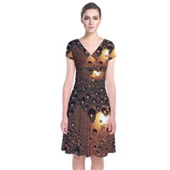 Condensation Abstract Short Sleeve Front Wrap Dress by Onesevenart