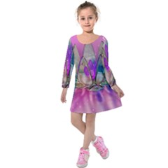 Crystal Flower Kids  Long Sleeve Velvet Dress by Onesevenart