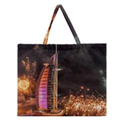 Dubai Burj Al Arab Hotels New Years Eve Celebration Fireworks Zipper Large Tote Bag by Onesevenart