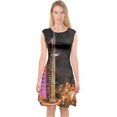 Dubai Burj Al Arab Hotels New Years Eve Celebration Fireworks Capsleeve Midi Dress by Onesevenart