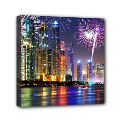 Dubai City At Night Christmas Holidays Fireworks In The Sky Skyscrapers United Arab Emirates Mini Canvas 6  X 6  by Onesevenart