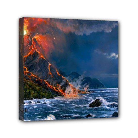 Eruption Of Volcano Sea Full Moon Fantasy Art Mini Canvas 6  X 6  by Onesevenart