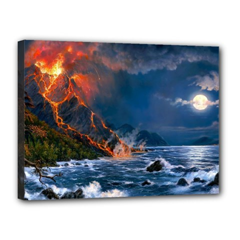 Eruption Of Volcano Sea Full Moon Fantasy Art Canvas 16  X 12  by Onesevenart