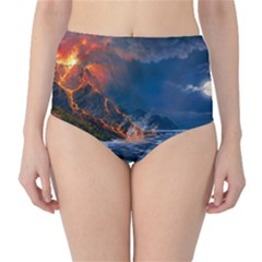 Eruption Of Volcano Sea Full Moon Fantasy Art High Waist Bikini Bottoms by Onesevenart