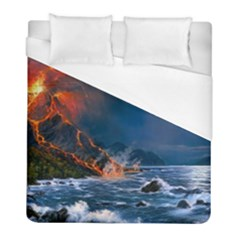 Eruption Of Volcano Sea Full Moon Fantasy Art Duvet Cover (full/ Double Size) by Onesevenart