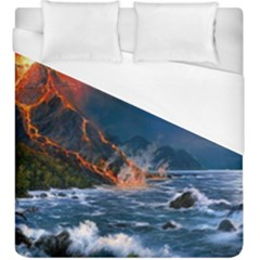 Eruption Of Volcano Sea Full Moon Fantasy Art Duvet Cover (king Size) by Onesevenart