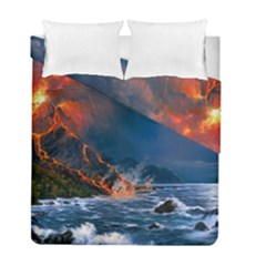 Eruption Of Volcano Sea Full Moon Fantasy Art Duvet Cover Double Side (full/ Double Size) by Onesevenart